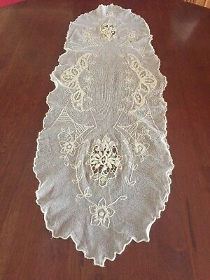 Beautiful Antique Lace Tambour Runner Swiss Chain Embroidery