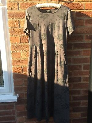Beautiful Vintage Laura Ashley Long Flowered Grey Dress Size 18