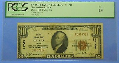 1929 $10 Ten Dollar United States National Currency Note from Dallas Texas