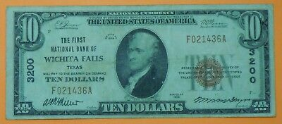 1929 $10 Ten Dollar United States National Currency Note from Wichita Falls, TX