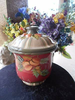 retired tracy porter COOKIE JAR octavia hill collection fruits stripes maroon