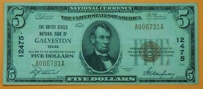 1929 $5 Five Dollar United States National Currency Note from Galveston Texas