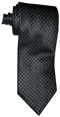 $285 NEW BRIONI SATIN BLACK w SILVER QUADRANGLE LATTICE FINE SILK MENS NECK TIE