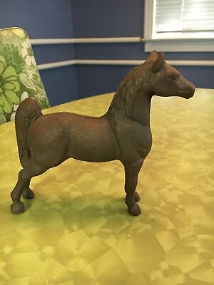 """5 1/2"""" Vintage toy cast iron metal horse penny coin bank looks like never opened"""