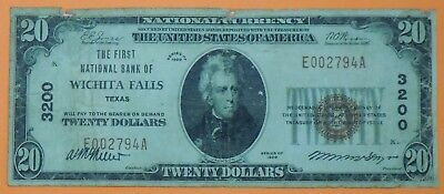 1929 $20 Twenty Dollar United States National Currency Note - Wichita Falls, TX