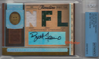 2006 National Treasures Triple Jersey Auto: Brett Favre #1/10 Autograph Bgs 9