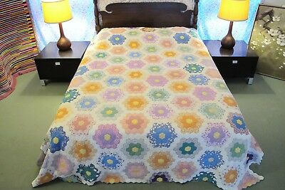 QUEEN Vintage Feed Sack Cotton Hand Sewn FLOWER GARDEN QUILT; Needs Laundering!