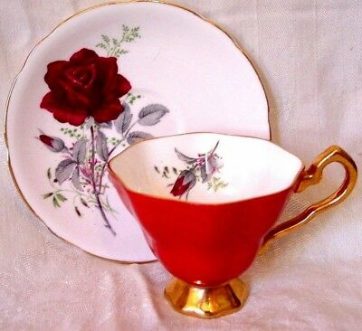 ROYAL STAFFORD  TEA CUP AND & SAUCER RED ROSE Inside & Out GOLD TEACUP