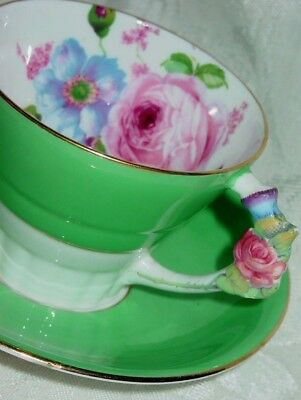 Paragon by Appointment Queen TEA CUP AND & SAUCER Green Pink ROSE GOLD TEACUP