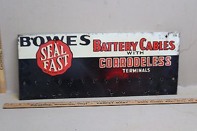 1950's BOWES SEAL FAST BATTERY CABLES METAL SIGN GAS OIL GARAGE FORD 66 TEXAS