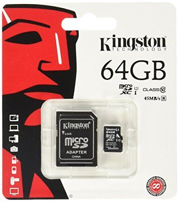Kingston Micro Sd 64Gb Sdxc Memory Card Class 10 Uhs-1  Camera Tablet Mobile