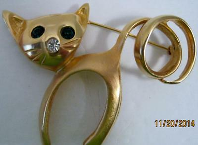 Vtg. Large Ultra Craft Cat Brooch 2in x 3in Green Jewel Eyes Curly Tail