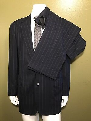 OXXFORD Clothes for Neiman Marcus manhatan 2BTN Navy striped suit 46L W 41x32