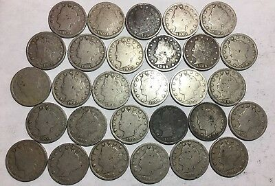 Lot Of (29) Liberty 'v' Nickels -See Pictures For Details