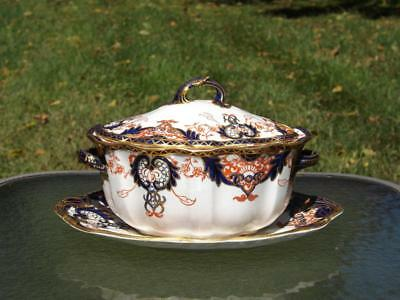 Royal Crown Derby Imari Kings Pattern 3615 Covered Soup Tureen & Underplate VGC