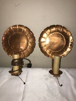 Antique Pair Arts & Crafts Candle Electrified Holders Copper Wall Sconces