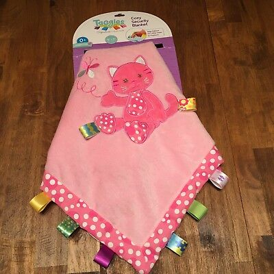 New 16x16 Taggies Kandy Kitty Cat Cozy baby Security blanket pink satin