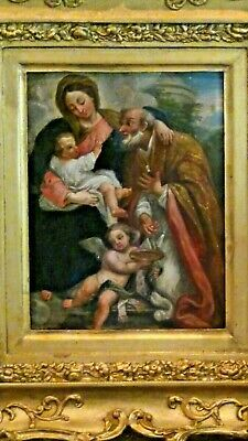 """ANTIQUE 17c ITALIAN OLD MASTER OIL ON COPPER """"VIRGIN MARY&CHILD"""" TO St. FRANCIS"""