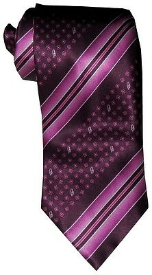 New Brioni Satin Magenta Tones Brioni B Diagonal Stripe Silk Hand Made Neck Tie