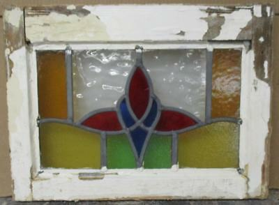 "OLD ENGLISH LEADED STAINED GLASS WINDOW Simple Floral 17"" x 13"""