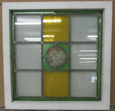 "OLD ENGLISH LEADED STAINED GLASS WINDOW Handpainted Floral 21.5"" x 21.75"""