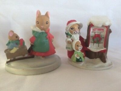 AVON FOREST FRIENDS Figurines SLEIGH RIDE and SHOPPING FOR TREATS Miniatures