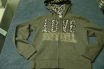 Love Softball  Hooded Jacket Girls Size 5  New Justice Really Nice!