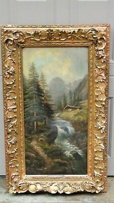 Carl Lenk (1887-1968 ,germany) Oil On Canvas Painting Of River Scene W/ A Cabin