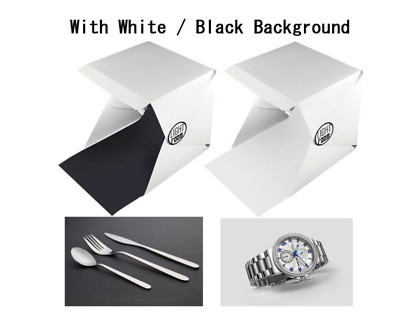 Folding Photo Booth Pop Up Tent with Light Small Item Portable Backdrop White