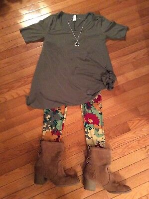 LuLaRoe OS Leggings Camo Print & XS Perfect T Solid Olive Outfit (2 Pieces)