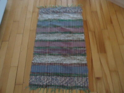 "Vintage Hand Woven Rag Rug multi-colored  runner 45"" X 24"""