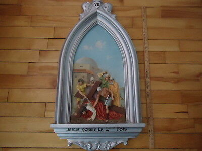 Antique Religious  Plaster  Station Of The Cross  # 7 Christian Church
