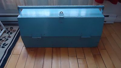 Vintage TOOL Box Tote  Country Primitive Wood Garden Carrier OLD BLUE PAINT