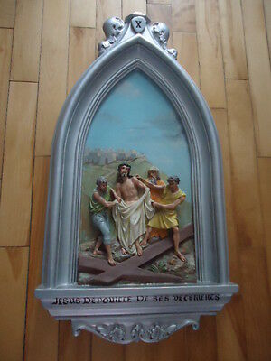 Antique Religious  Plaster  Station Of The Cross  # 10  Christian Church
