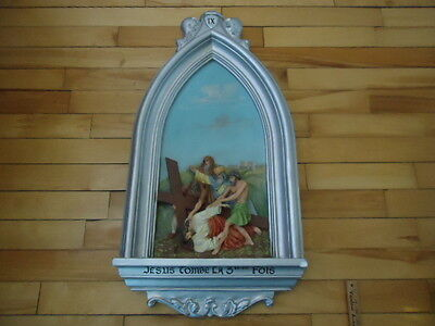Antique Religious  Plaster  Station Of The Cross  # 9  Christian Church