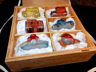 Vintage Set of 6 Old World Transportation Glass Light Covers in Wooden Box