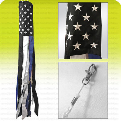 """60"""" Embroidered THIN BLUE LINE USA Flag Windsock American Police Live Matters b"""