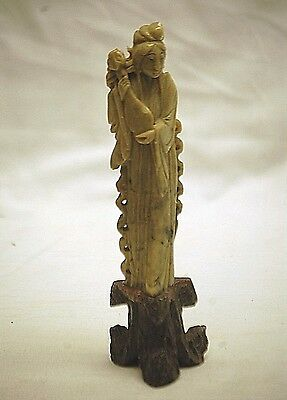Old Vintage Asian Japanese Female Figurine Green Jade Stone Carving on Base b