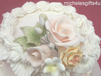 Gum Paste Cream Rose Yellow Carnation Stephanotis Sugar Cake Flowers Ivy Leaves
