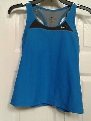 Nike Women's Dri-Fit Blue Racerback  Sport Bra Tank Top, Size  Small