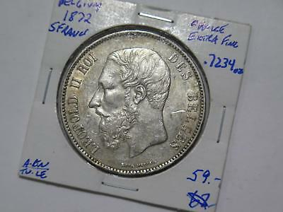 Belgium 1872 5 Francs Leopold Ii Silver Crown Size World Coin Collection Lot B