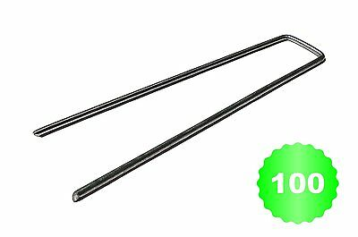 "100 Garden Staples EXTRA STRONG and GALVANIZED - 6"" / 150mm x 30mm dia 3mm- for"