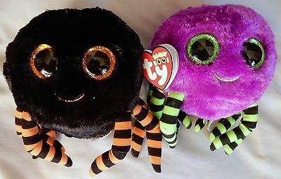 Crawly The Black & Purple Spiders - SET OF 2 - Ty Beanie Boo - NEW w/ MINT TAGS
