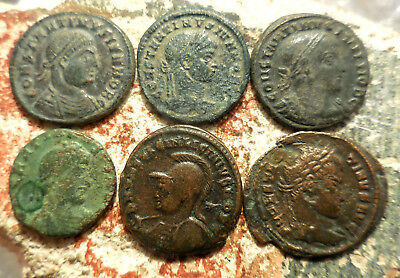 Lot of 6 VF+ Ancient Roman Coins!  Largest 22 mm.