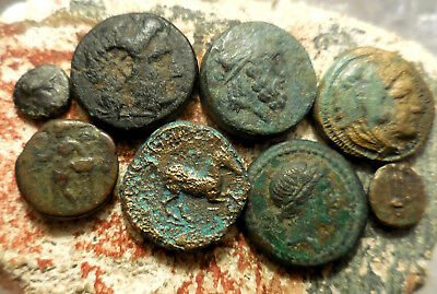 Lot of 8 VF Ancient Greek Coins!  Largest 18 mm.