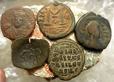 Lot of 5 VF+ Ancient Byzantine Coins!  Largest 31 mm.