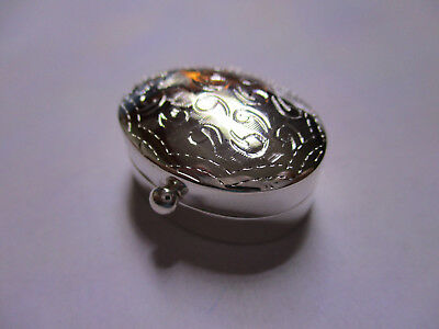 Sterling Silver Pill Box Oval shape Engraved solid 925 silver 1 inch long 12/16