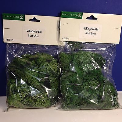 LOT of 2 Dept 56 Heritage VILLAGE MOSS GRASS GREEN NEW! Combine Shipping!