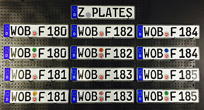 German License Plate - Wolfsburg Germany - New with Seal for VW