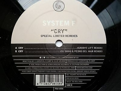 "System F Cry Limited Remixes 12"" vinyl #176"